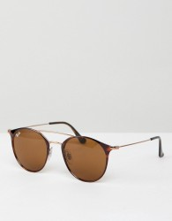 Ray-Ban 0RB3546 round sunglasses with double brow - Brown