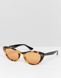 Ray-Ban 0RB4314N slim cat eye sunglasses - Brown