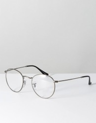 Ray Ban 0RX3447 round optical frames with demo lenses in silver - Silver