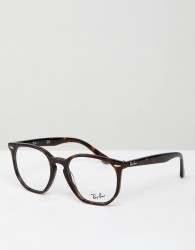 Ray-Ban 0RX7151 round hexagonal optical frames with demo lenses - Brown
