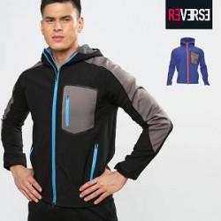 Re-Verse Softshell jakke med konrastfarvet lynlås