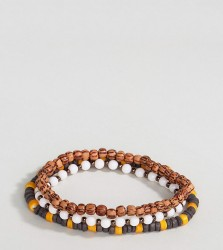 Reclaimed Vintage Brown Beaded Bracelet In 3 Pack Exclusive To ASOS - Brown