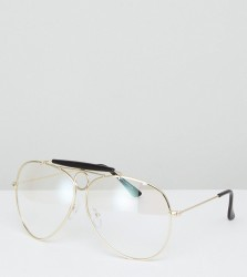 Reclaimed Vintage Glasses With Clear Lens Exclusive To ASOS - Gold