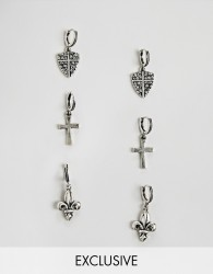 Reclaimed Vintage hoop earring pack in burnished silver with cross and shield - Silver