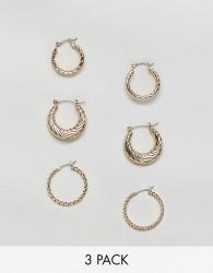 Reclaimed Vintage inspired 3 pack hoop earrings - Gold