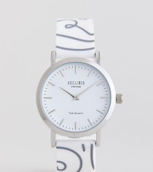 Reclaimed Vintage Inspired 90s Print Silicone Watch In White/Black 36mm Exclusive To ASOS - White