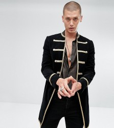 Reclaimed Vintage Inspired Admiral Coat In Black Velour - Black