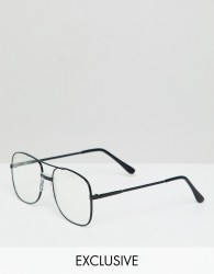 Reclaimed Vintage Inspired Aviator Clear Lens Glasses In Black - Black