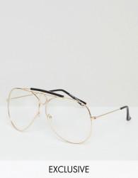 Reclaimed Vintage Inspired Aviator Clear Lens Glasses In Gold - Gold