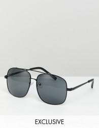 Reclaimed Vintage Inspired Aviator Sunglasses In Black - Black