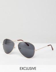 Reclaimed Vintage Inspired Aviator Sunglasses In Gold - Gold