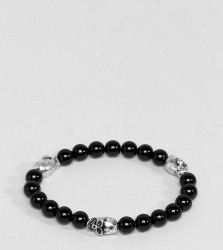Reclaimed Vintage Inspired Black Beaded Bracelet With Skulls Exclusive To ASOS - Black