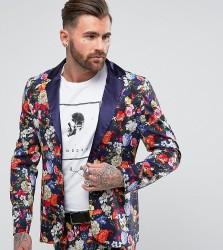 Reclaimed Vintage Inspired Blazer In Floral Print - Navy