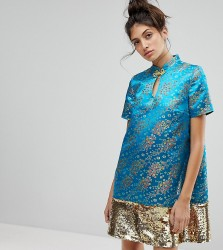 Reclaimed Vintage Inspired Brocade Dress With Sequin Panel - Blue
