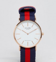 Reclaimed Vintage Inspired Canvas Stripe Watch In Navy/Red Exclusive to ASOS - Blue