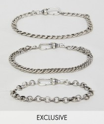Reclaimed Vintage inspired Chain Bracelet pack in burnished silver exclusive at ASOS - Silver