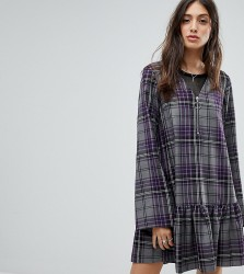 Reclaimed Vintage Inspired Check Smock Mini Dress - Purple