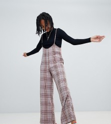 Reclaimed Vintage inspired check trouser with braces - Brown