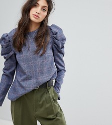 Reclaimed Vintage Inspired Checked Blouse With Extreme Sleeves - Multi