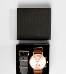 Reclaimed Vintage Inspired Chronograph Brown & Black Leather Interchangable Strap Watch Gift Set Exclusive To ASOS - Brown