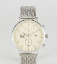 Reclaimed Vintage Inspired Chronograph Mesh Watch In Silver Exclusive to ASOS - Silver