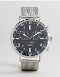 Reclaimed Vintage Inspired Chronograph Mesh Watch In Silver - Silver