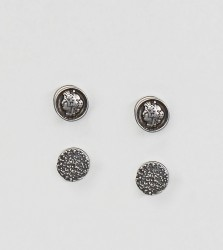 Reclaimed Vintage Inspired Circle Plug Earrings In 2 Pack Exclusive To ASOS - Silver