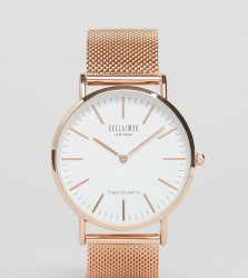 Reclaimed Vintage Inspired Classic Mesh Strap Watch In Rose Gold Exclusive to ASOS - Silver