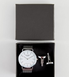 Reclaimed Vintage Inspired Classic Mesh Watch & Cufflinks Gift Set In Silver - Silver