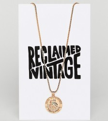 Reclaimed Vintage Inspired Coin Pendant Necklace () - Gold