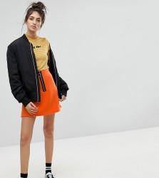 Reclaimed Vintage Inspired Contrast Zip Mini Skirt - Orange