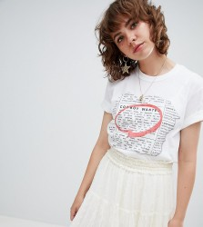 Reclaimed Vintage inspired cowboy wanted tshirt - White