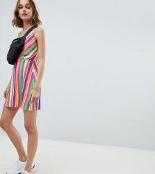 Reclaimed Vintage inspired cowl neck mini dress in stripe - Multi