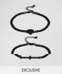 Reclaimed Vintage Inspired Cross Bracelet In 2 Pack Exclusive To ASOS - Silver