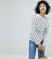 Reclaimed Vintage Inspired Drape Front Top In Spot - White