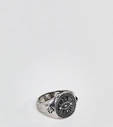 Reclaimed Vintage Inspired Eye Signet Ring In Silver Exclusive To ASOS - Silver