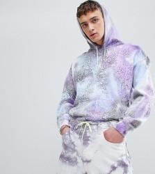 Reclaimed Vintage inspired festival hoodie with tye dye - Purple