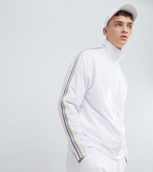 Reclaimed Vintage inspired festival track jacket with rainbow tape in white - White