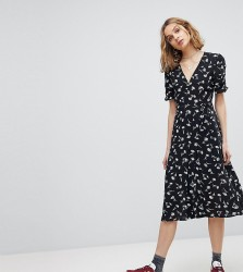 Reclaimed Vintage Inspired Floral Button Wrap Midi Dress - Black