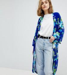 Reclaimed Vintage Inspired Floral Kimono - Blue