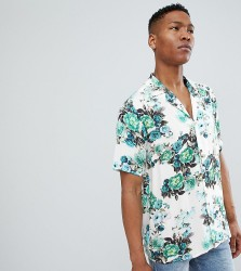 Reclaimed Vintage Inspired Floral Shirt With Short Sleeves - Blue