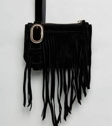 Reclaimed Vintage Inspired Fringe Bumbag - Black