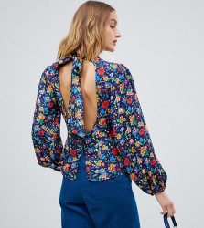 Reclaimed Vintage inspired high neck blouse in floral print - Multi