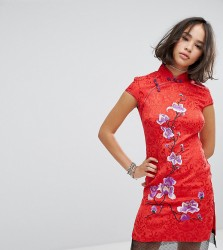 Reclaimed Vintage Inspired High Neck Dress In Brocade With Floral Embroidery - Red