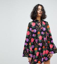 Reclaimed Vintage Inspired High Neck Dress In Floral - Multi