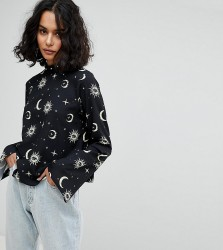 Reclaimed Vintage Inspired High Neck Top With Moon & Star Print - Black