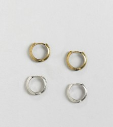 Reclaimed Vintage Inspired hoops earrings pack in burnished silver and gold - Silver