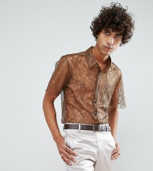 Reclaimed Vintage Inspired Lace Shirt With Short Sleeves In Reg Fit - Brown