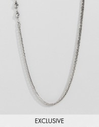 Reclaimed Vintage inspired lariat necklace with skull in silver exclusive at ASOS - Silver