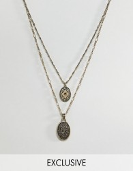 Reclaimed Vintage inspired layered necklace with coins in burnished gold exclusive at ASOS - Gold